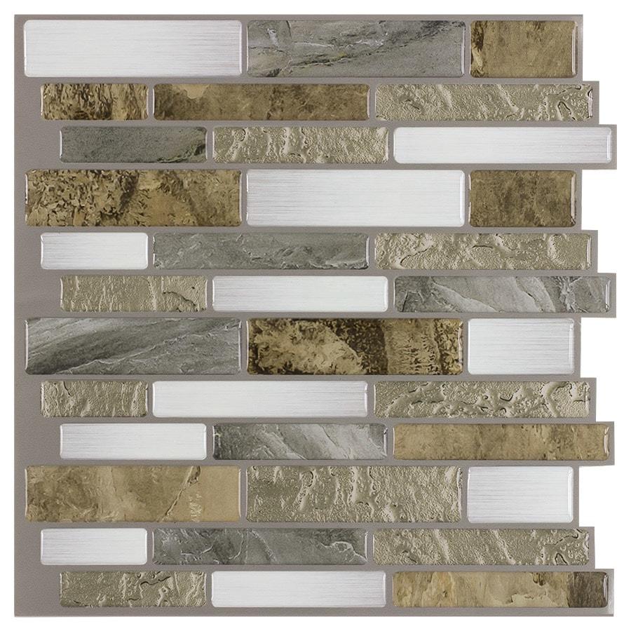 shop peel stick mosaics peel and stick 4 pack mountain terrain composite linear mosaic wall tile. Black Bedroom Furniture Sets. Home Design Ideas