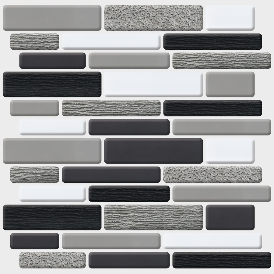 Peel&Stick Mosaics Peel and Stick 4-Pack Midnight Eclipse Linear Mosaic Composite Wall Tile (Common: 10-in x 10-in; Actual: 10-in x 9.7-in)