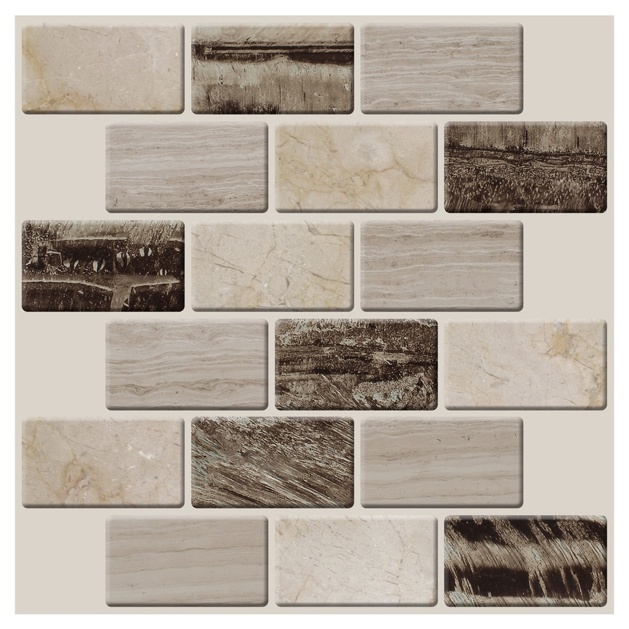 Peel&Stick Mosaics Peel and Stick 4-Pack Natural Cascades Linear Mosaic Composite Wall Tile (Common: 10-in x 10-in; Actual: 10-in x 9.35-in)