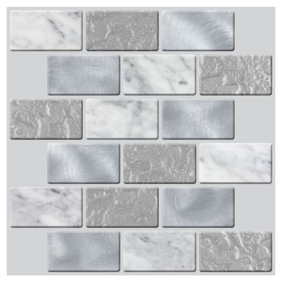 Shop Peel&Stick Mosaics Peel and Stick 4-Pack WHISPERING CLOUDS ...