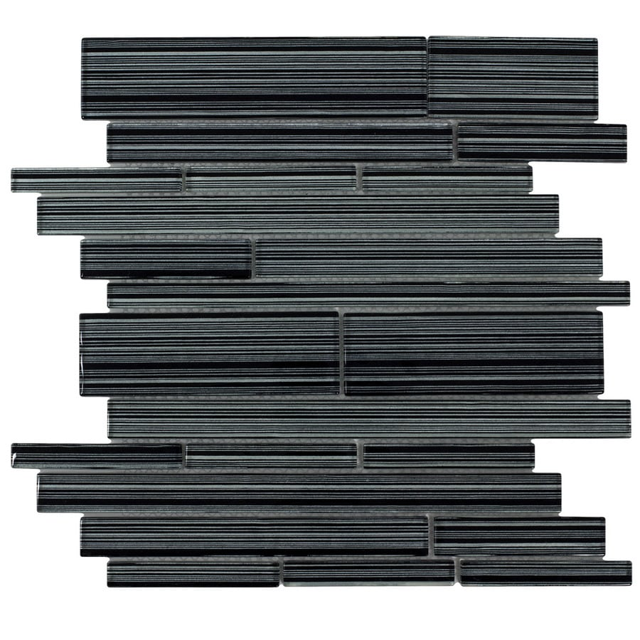 Elida Ceramica Glassy Terrain Linear Mosaic Glass Wall Tile (Common: 12-in x 12-in; Actual: 12.25-in x 11.75-in)