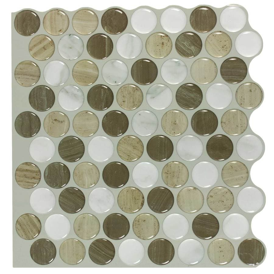 L Stick Mosaics And Rounded Stones Composite Circular Mosaic Wall Tile Common 10