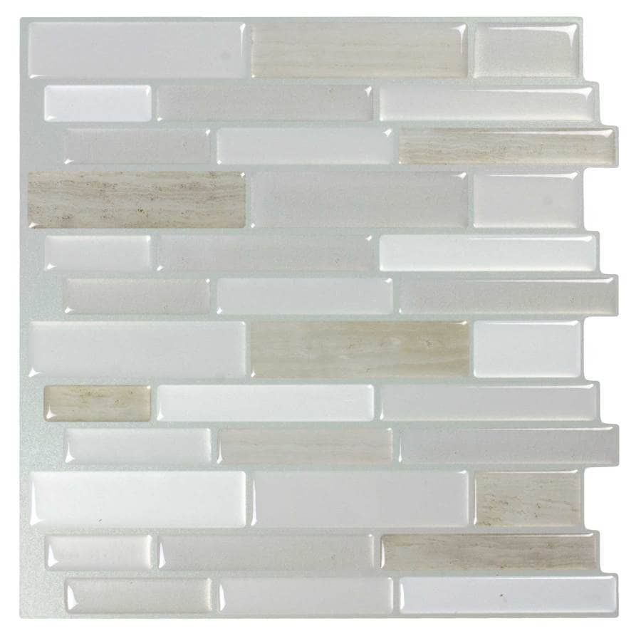 Shop Peel&Stick Mosaics Peel and Stick Light Silk Linear Mosaic ...