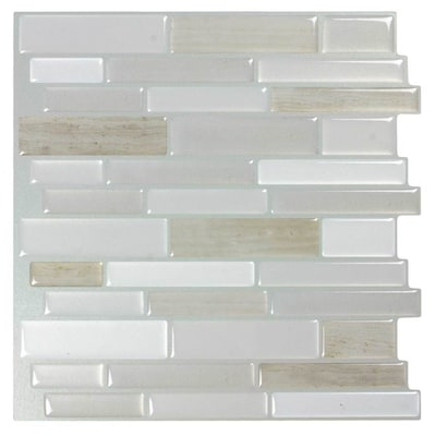 Light Silk 10 In X Composite Linear Mosaic L And Stick Tile Common Actual 9 81