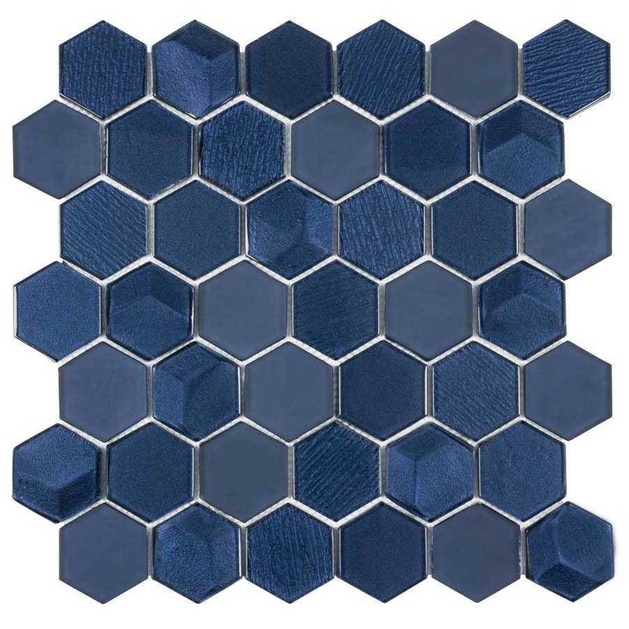 - Elida Ceramica Skylight Hex 12-in X 12-in Glossy Glass Mosaic Wall