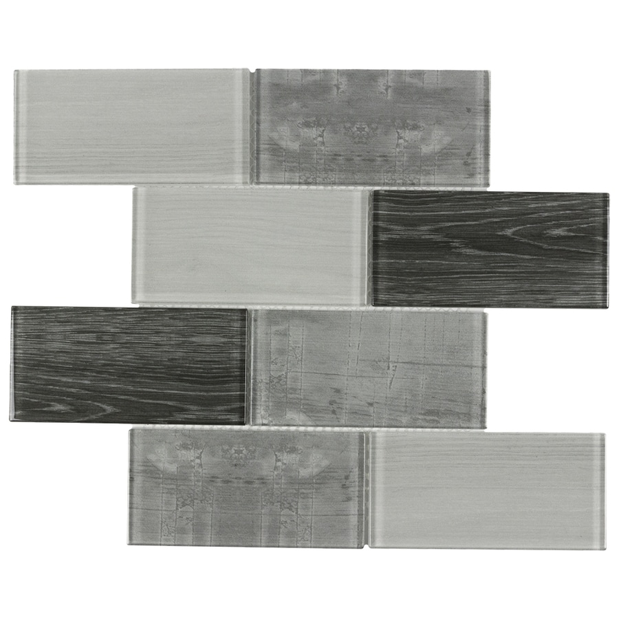 Elida Ceramica Wood Reflections Subway Mosaic Glass Wall Tile (Common: 12-in x 12-in; Actual: 11.75-in x 11.75-in)