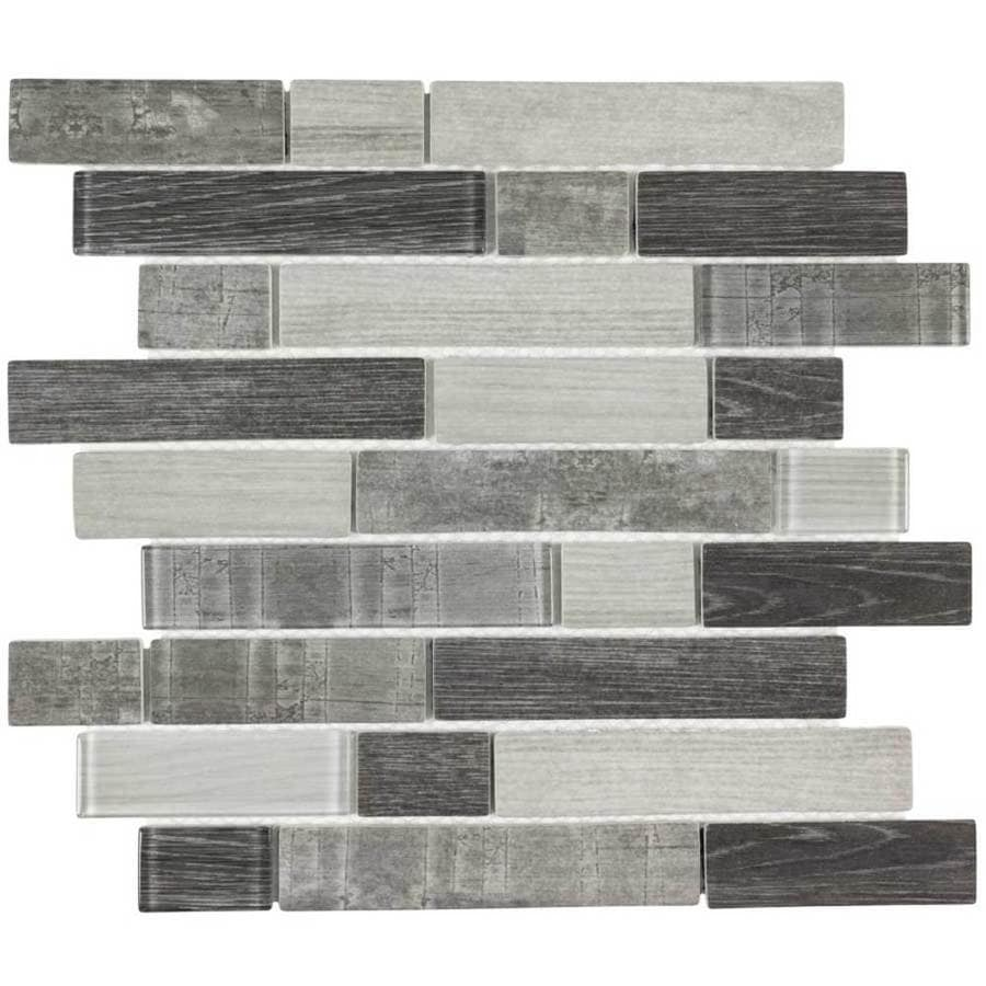 Elida Ceramica Wood Reflections Linear Mosaic Glass Wall Tile (Common: 12-in x 12-in; Actual: 11.75-in x 11.75-in)