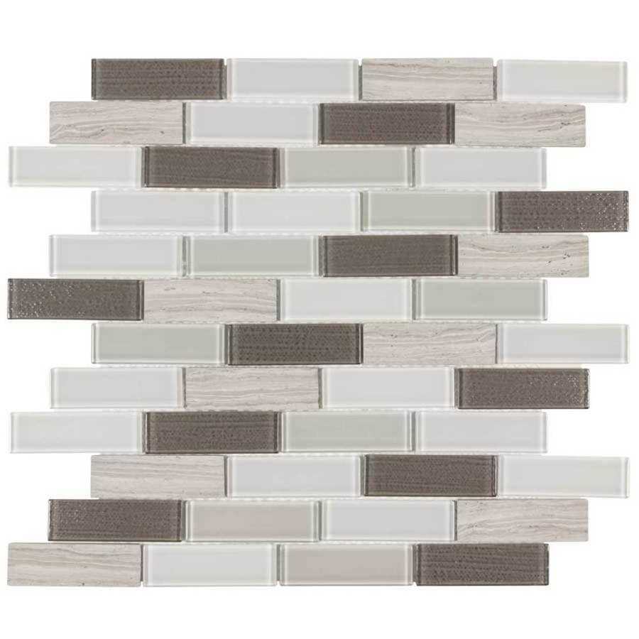 Elida Ceramica Highlight Linear Blend Mosaic Stone and Glass Wall Tile (Common: 12-in x 12-in; Actual: 11.5-in x 11.75-in)