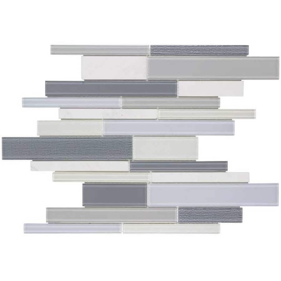 Elida Ceramica Moonlight Linear Blend Mosaic Stone and Glass Wall Tile (Common: 12-in x 12-in; Actual: 11-in x 11.75-in)