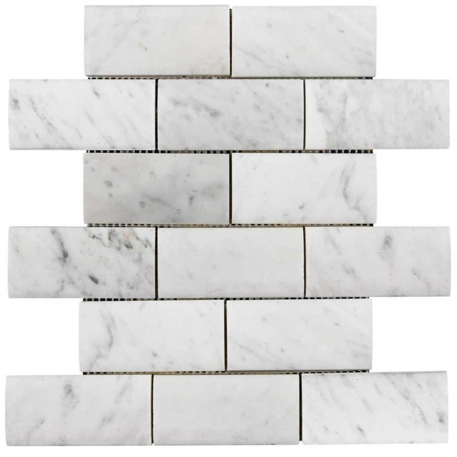Elida Ceramica Savy Light Subway Mosaic Natural Stone Marble Wall Tile (Common: 12-in x 12-in; Actual: 12.28-in x 12.12-in)
