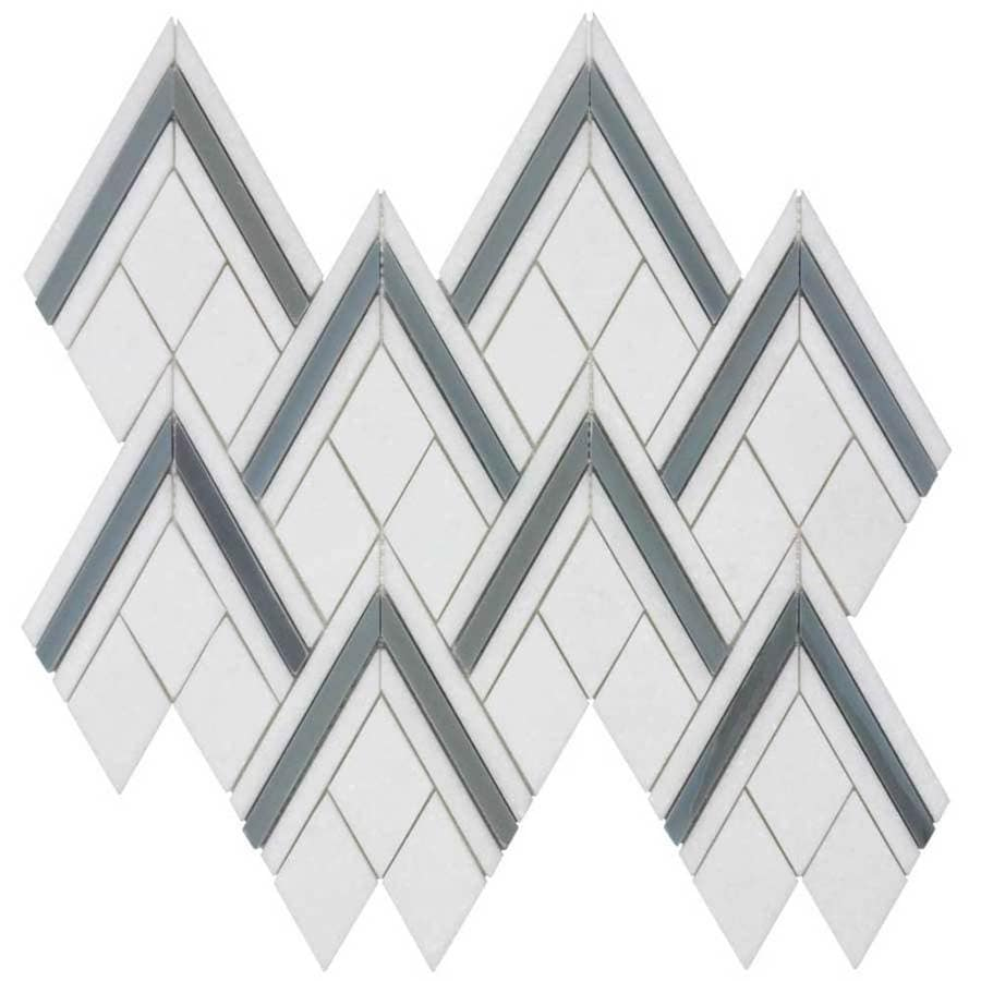 Elida Ceramica Savy Light Peaks Mosaic Natural Stone Marble Floor and Wall Tile (Common: 12-in x 12-in; Actual: 9.37-in x 12.62-in)