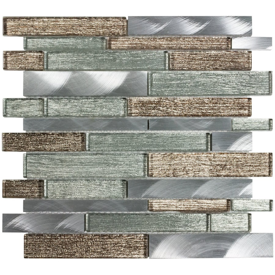 Elida Ceramica SPARKLING RIVER Linear Mosaic Glass And Metal Wall Tile (Common: 12-in x 12-in; Actual: 11.75-in x 11.62-in)
