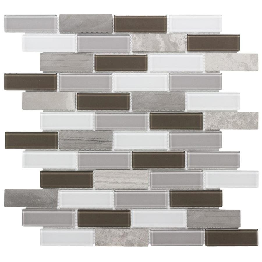 Shop tile at lowes elida ceramica sand storm linear mosaic stone and glass wall tile common 12 dailygadgetfo Images