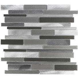 Elida Ceramica Oasis Silver Mix 12-in x 12-in Glass And Metal Linear Mosaic Wall Tile (Common: 12-in x 12-in; Actual: 11.81-in x 11.81-in)