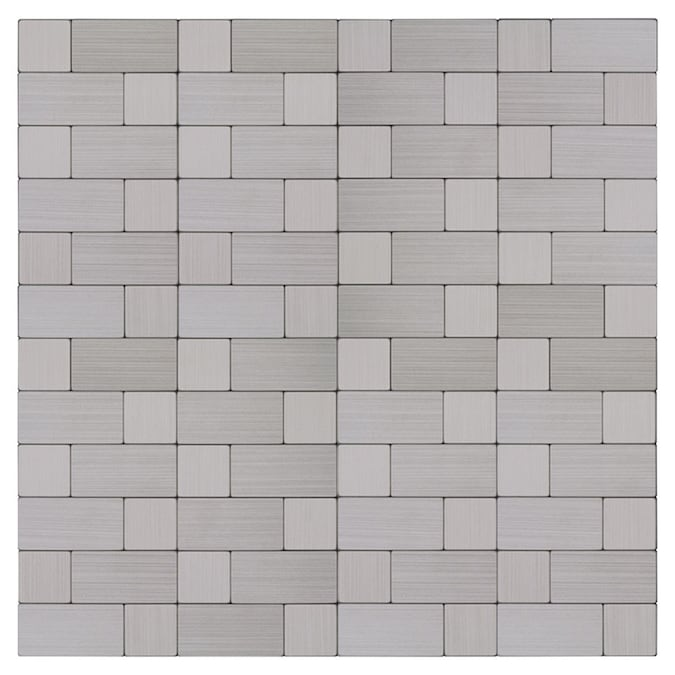 Peel Stick Mosaics Peel And Stick Stainless Block 12 In X 12 In Metallic Metal Linear Peel Stick Wall Tile In The Tile Department At Lowes Com