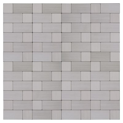 L And Stick Stainless Block 12 In X Metal Linear Mosaic Tile Common Actual 008