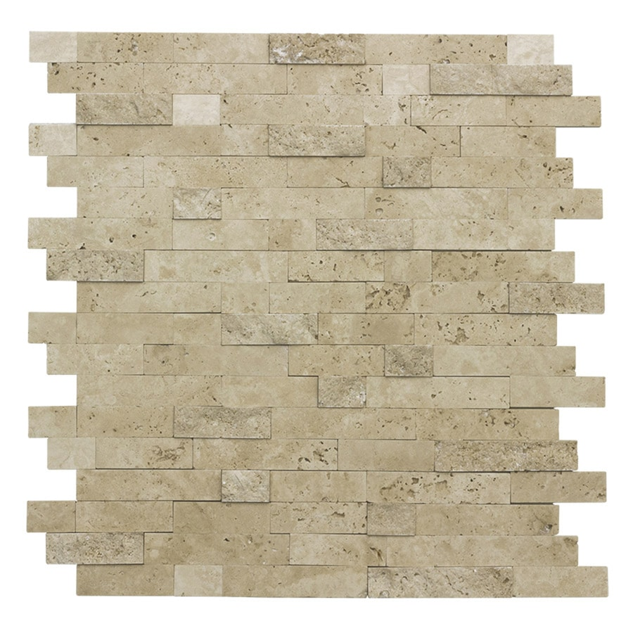 Shop Peel&Stick Mosaics Stacked Travertine Linear Travertine Wall ...