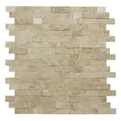Stacked Travertine 12 In X Linear Mosaic L And Stick Tile Common Actual 11 69 10 83