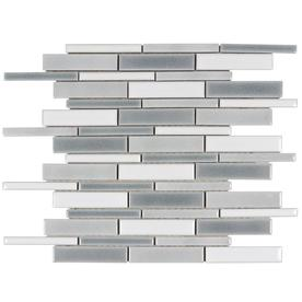 Elida Ceramica Ocean Crackled Linear 12-in x 12-in Porcelain Linear Mosaic Wall Tile (Common: 12-in x 12-in; Actual: 12.64-in x 11.97-in)