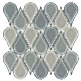 Elida Ceramica Pure Breeze Teardrop 12-in x 12-in Glass Droplet Mosaic Wall Tile (Common: 12-in x 12-in; Actual: 11.26-in x 10.945-in)