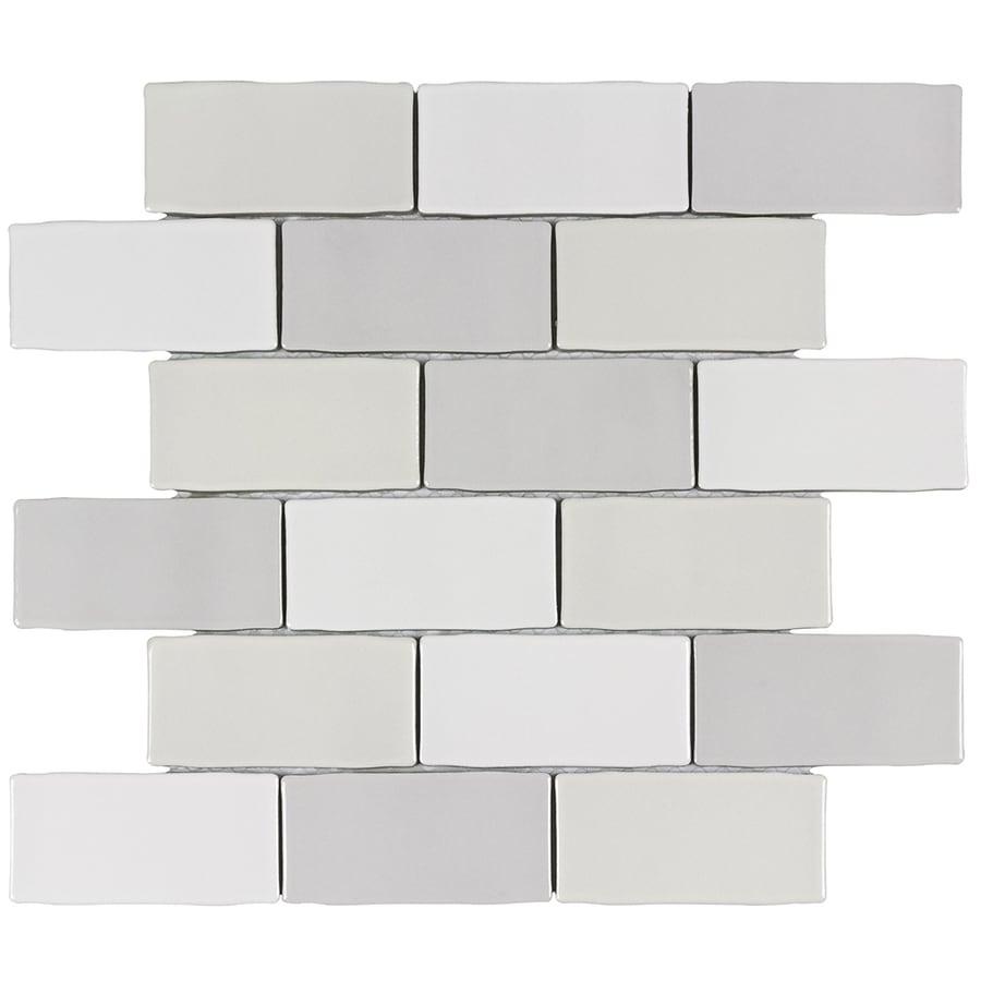 Elida Ceramica Handcrafted Blend 2x4 Mosaic 12 In X 12 In Ceramic