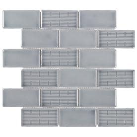 Elida Ceramica Havana Nights Subway 12-in x 12-in Porcelain Brick Mosaic Wall Tile (Common: 12-in x 12-in; Actual: 12.11-in x 12.4-in)