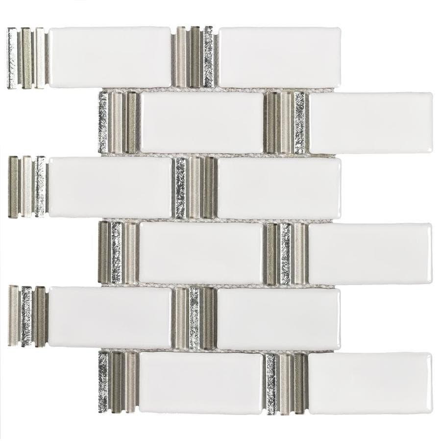 Shop Elida Ceramica Sierra Metallic Subway Brick Mosaic Ceramic Wall ...