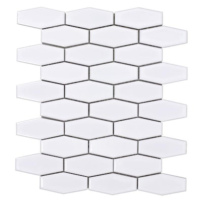Glazed White Decorative Hex 12 In X Ceramic Hexagon Mosaic Wall Tile Common Actual 10 43 83