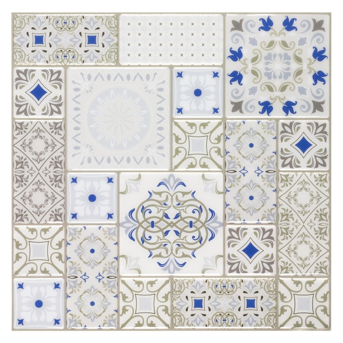 peel stick mosaics peel and stick karlita 10 in x 10 in glossy composite linear patterned peel and stick wall tile