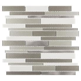 Elida Ceramica Coquina Ridge 12-in X 12-in Glass And Metal Linear Mosaic Wall Tile (Common: 12-in X 12-in; Actual: 11.81-in X 11.81-in)