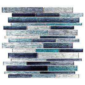 Elida Ceramica Sparkle Ocean Blue 12-in x 13-in Glass Linear Mosaic Wall Tile (Common: 12-in x 13-in; Actual: 11.81-in x 11.81-in)