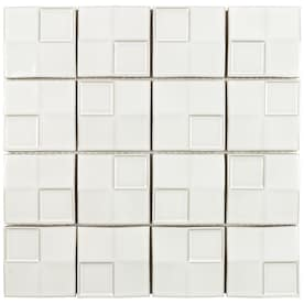 Boutique Ceramic Boutique White 12-in x 12-in Glazed Ceramic Random Mosaic Wall Tile