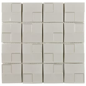 Boutique Ceramic Boutique Gray 12-in x 12-in Glazed Ceramic Random Mosaic Wall Tile