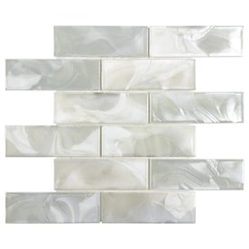 Elida Ceramica White 12-in x 12-in Glossy Glass Brick Mosaic Wall Tile