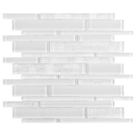 Elida Ceramica White 12-in x 12-in Glossy Glass Linear Mosaic Wall Tile