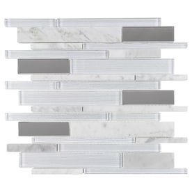 Elida Ceramica White 12-in x 12-in Mirrored Glass/Stone Linear Mosaic Wall Tile