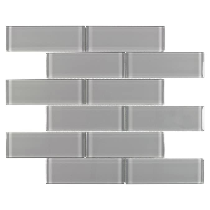 Elida Ceramica Gray 12 In X 12 In Glossy Glass Brick Subway Wall Tile In The Tile Department At Lowes Com