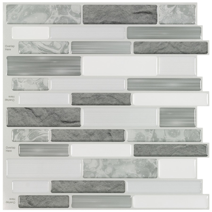 Peel Stick Mosaics Peel And Stick Mosaic Grey Cascades 10 In X 10 In Glossy Composite Linear Peel Stick Wall Tile In The Tile Department At Lowes Com