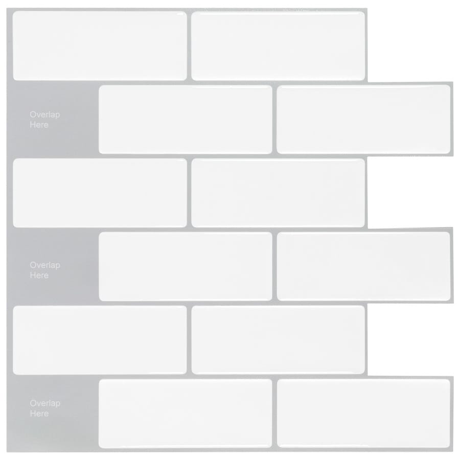 Peel Stick Mosaics Peel And Stick Mosaic White Subway 10 In X 10 In Glossy Composite Linear Peel Stick Wall Tile In The Tile Department At Lowes Com