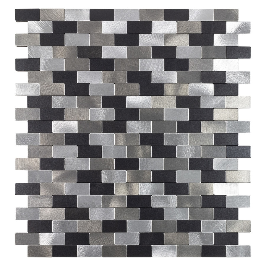 Peel Stick Mosaics Peel And Stick Metro Medley Black And Silver 11 In X 12 In Metallic Metal Brick Peel Stick Wall Tile In The Tile Department At Lowes Com