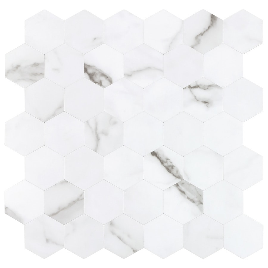 Peel Stick Mosaics Peel And Stick Arctic Gray And White 12 In X 12 In Matte Metal Hexagon Marble Look Peel And Stick Wall Tile In The Tile Department At Lowes Com