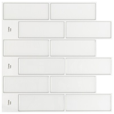 Peel Stick Mosaics Peel And Stick Linen Antiqued White 10 In X 10 In Glossy Composite Brick Peel And Stick Wall Tile In The Tile Department At Lowes Com
