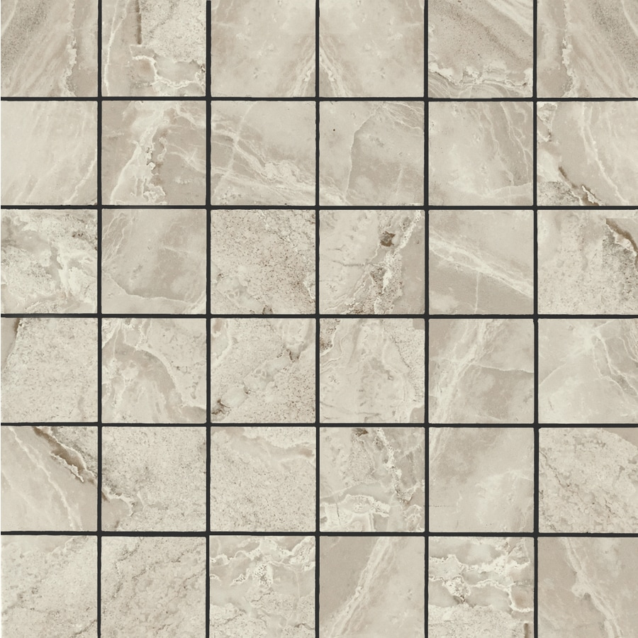FLOORS 2000 Aura Gris Uniform Squares Mosaic Porcelain Floor and Wall Tile (Common: 12-in x 12-in; Actual: 11.81-in x 11.81-in)