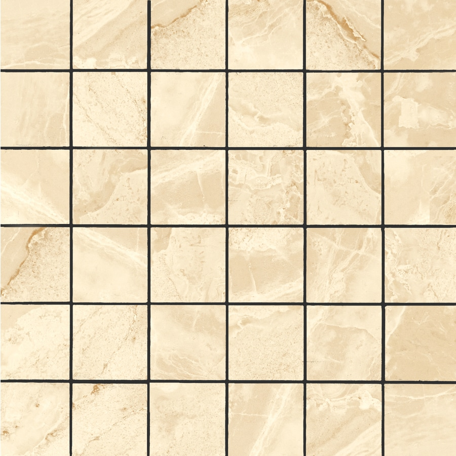 FLOORS 2000 Aura Beige Uniform Squares Mosaic Porcelain Floor and Wall Tile (Common: 12-in x 12-in; Actual: 11.81-in x 11.81-in)