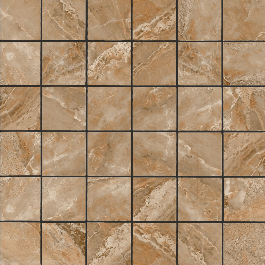 FLOORS 2000 Aura Marron Uniform Squares Mosaic Porcelain Floor and Wall Tile (Common: 12-in x 12-in; Actual: 11.81-in x 11.81-in)