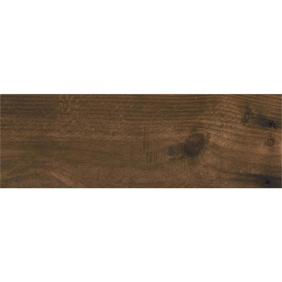 CERAMICAS TESANY Acadia Brown Matt Wood Look Ceramic Floor And Wall Tile  (Common: 24