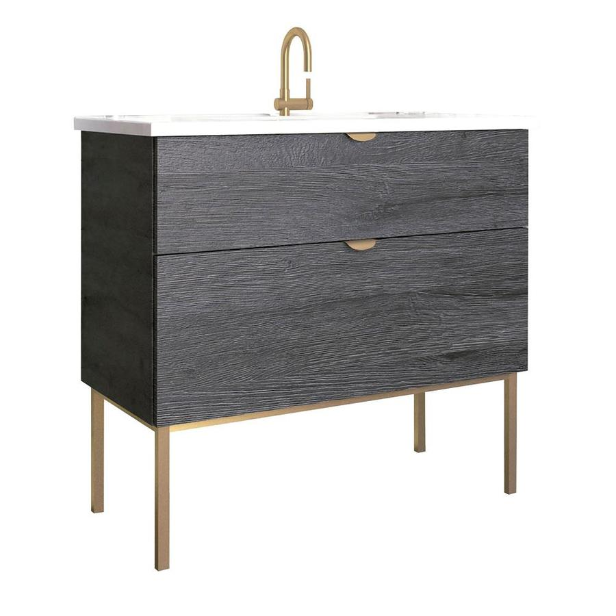 Randalco Smug 40 In Akron Oak Wood Looking Single Sink Bathroom Vanity With  Glossy White Ceramic Top