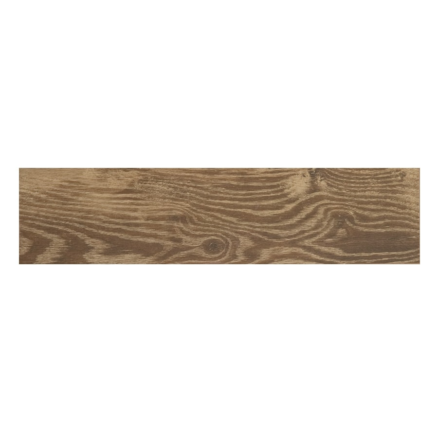 Shop style selections natural timber cinnamon porcelain floor and wall tile common 6 in x 24 - Lowes floor tiles porcelain ...