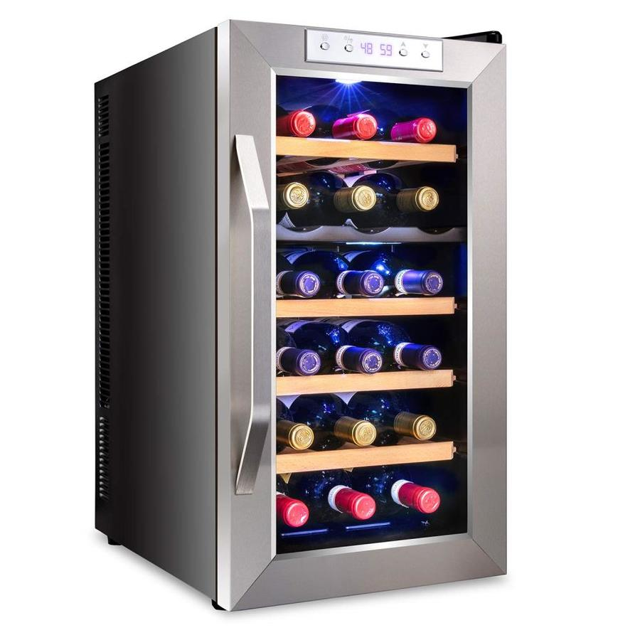 Ivation 18 Bottle Capacity Stainless Steel Dual Zone Cooling Freestanding Wine Chiller In The Wine Coolers Department At Lowes Com