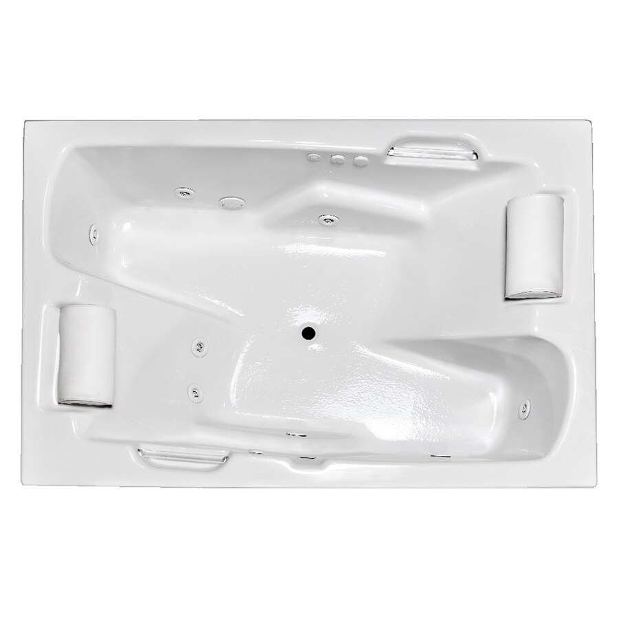 Laurel Mountain Oakmont 2-Person White Acrylic Rectangular Whirlpool Tub  (Common: 48-